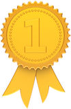 First place award ribbon golden classic. First place award ribbon golden. Winner number one medal icon. Champion classic design element template. This is a high Royalty Free Stock Images