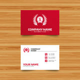 First place award sign icon. Prize for winner. Business card template. First place award sign icon. Prize for winner symbol. Laurel Wreath. Phone, globe and Royalty Free Stock Photography