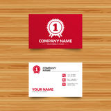 First place award sign icon. Prize for winner. Business card template. First place award sign icon. Prize for winner symbol. Phone, globe and pointer icons Stock Images