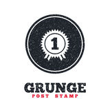 First place award sign icon. Prize for winner. Grunge post stamp. Circle banner or label. First place award sign icon. Prize for winner symbol. Dirty textured Royalty Free Stock Photo