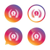 First place award sign icon. Prize for winner. First place award sign icon. Prize for winner symbol. Laurel Wreath. Gradient buttons with flat icon. Speech Royalty Free Stock Photos