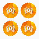 First place award sign icon. Prize for winner. First place award sign icon. Prize for winner symbol. Laurel Wreath. Triangular low poly buttons with flat icon Stock Images