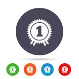 First place award sign icon. Prize for winner. First place award sign icon. Prize for winner symbol. Round colourful buttons with flat icons. Vector Royalty Free Stock Images