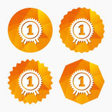 First place award sign icon. Prize for winner. First place award sign icon. Prize for winner symbol. Triangular low poly buttons with flat icon. Vector Royalty Free Stock Photography