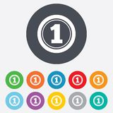 First place award sign. Winner symbol. Round colourful 11 buttons Stock Images