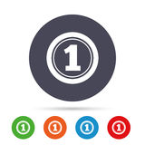First place award sign. Winner symbol. Round colourful buttons with flat icons. Vector Royalty Free Stock Photo