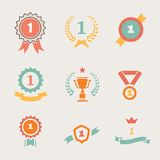 First Place Badges and  Ribbons vector. Illustration Royalty Free Stock Photo