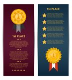 First place banners with golden medals. And space for text. Championship awards ceremony, trophy cup vector illustration. Sport competition event, favorite Royalty Free Stock Photo