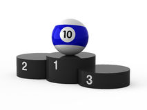 First place. Billiards. Isolated black podium and billiards ball Stock Image