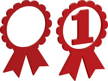 First place and blank rosettes. Illustration of red first place and blank rosettes with ribbon, isolated on white background Royalty Free Stock Photos