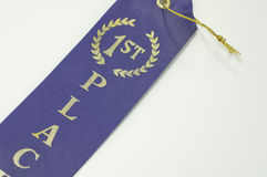 First place blue ribbon Stock Images