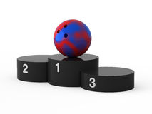 First place. Bowling. Isolated black podium and bowling ball Royalty Free Stock Photo
