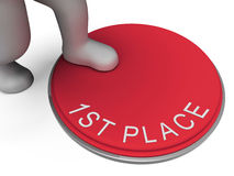 First Place Button Means 1st And Victor Stock Images