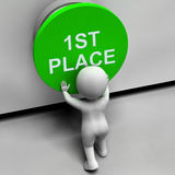First Place Button Shows 1st Place And Winner. First Place Button Showing 1st Place And Winner Royalty Free Stock Image