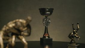 First place championship trophy or silver cup concept for winning and success. Cup for a victory in the judo. Championship. Cup for sporting achievement stock footage