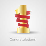 First place concept. Shiny 3d golden first place symbol, covered by red ribbon. Vector illustration for celebration or anniversary. Award for winner, number one Stock Photo