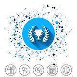 First place cup award icon. Prize for winner. Button on circles background. First place cup award sign icon. Prize for winner symbol. Laurel Wreath. Calendar Royalty Free Stock Photo