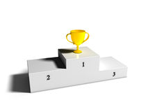 First place Cup on Podium. Golden cup on first place podium Royalty Free Stock Photography