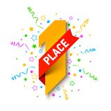First place, first winner, champion. Number one illustration with red ribbon, confetti and party streamers Royalty Free Stock Image