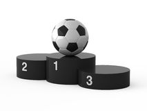 First place. Football. Isolated black podium and soccer ball Stock Photography