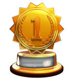 First place gold award, number one, clipping mask. 3d render of golden first place trophy Royalty Free Stock Photo