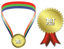 First place gold medal. Golden medal isolated against  white background Royalty Free Stock Images