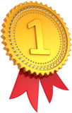 First place golden award with red ribbon Stock Photo