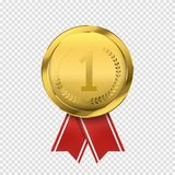 First place golden medal isolated. Vector award icon. Winner concept. First place golden medal isolated. Award icon. Winner concept. Vector illustration Royalty Free Stock Images