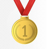 First Place Golden Medal  on transparent background. Vector.illustration. First Place Golden Medal with red ribbon  on transparent background. Vector Royalty Free Stock Photography