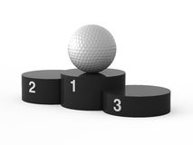 First place. Golf. Isolated black podium and golf ball Royalty Free Stock Photo
