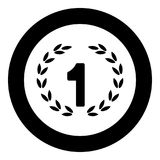 First place  icon black color in circle or round. Vector illustration Stock Photos