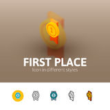 First place icon in different style Stock Photos