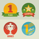 First place icon set flat design. First place and winner cup icon set flat design Stock Photography