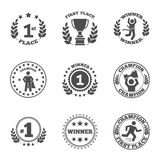 First place icons set. First place emblem and winner ribbons labels set vector illustration Stock Photos