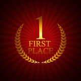 First Place Laurel Design Label Vector Illustration Stock Image