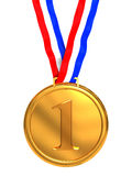 First place medal. 3d illustration of golden medal with number one sign Royalty Free Stock Images