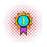 First place medal icon, comics style. First place medal icon in comics style isolated on white background. First place medal with purple ribbon stock illustration
