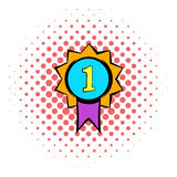 First place medal icon, comics style. First place medal icon in comics style isolated on white background. First place medal with purple ribbon Royalty Free Stock Photography