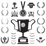 First place medal and labels monochrome icons and design element. S Stock Image