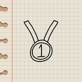 First place medal sketch icon. Element of education icon for mobile concept and web apps. Outline first place medal sketch icon ca. N be used for web and mobile Stock Images