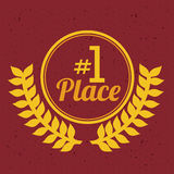 First place. Over red background vector illustration Stock Images