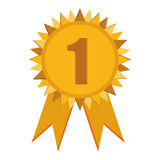 First place prize badge with ribbons icon. Simple flat design first place prize badge with ribbons icon  illustration Royalty Free Stock Photos