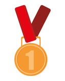 First place prize medal icon. Simple flat design prize medal icon  illustration Royalty Free Stock Images