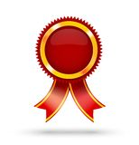 First Place Red Label. Award Ribbon on isolated white with copy space Stock Photo