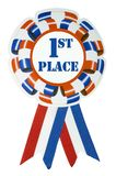 First place ribbon - clipping path. A large red white and blue ribbon to pin on the first (1#) place winner Stock Photography