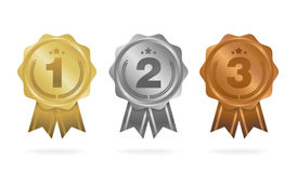First place. Second place. Third place. Award Medals Set isolated on white with ribbons. And stars. Vector illustration Stock Image
