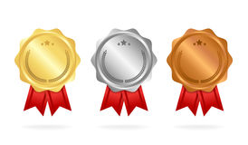 First place. Second place. Third place. Award Medals Set isolated on white with ribbons and stars. Vector illustration.  Royalty Free Stock Photos