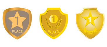First Place. Set of first place golden shield illustrations Stock Photography