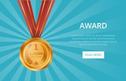 First place shiny golden medal with red ribbon. Championship award, trophy cup vector illustration. Sport competition ceremony event website banner, favorite Royalty Free Stock Images