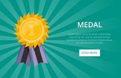 First place shiny golden medal with ribbon. Championship award, trophy cup vector illustration. Sport competition website banner, win ceremony event, favorite Royalty Free Stock Photography